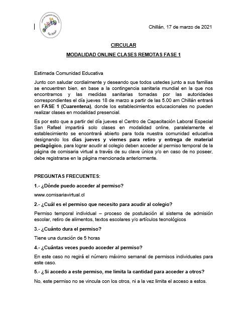 Comunicado Oficial debido a retorno Fase 1 (cuarentena) en la ciudad de Chillán